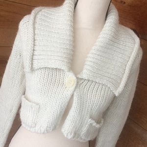 The Limited Winter White And Silver Cropped Shrug